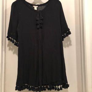 Forever 21 black tunic top blouse Med tassel Boho
